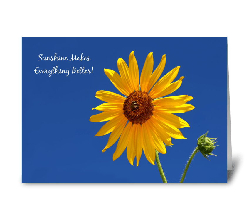 Cheerful Get Well Yellow Sunflower greeting card