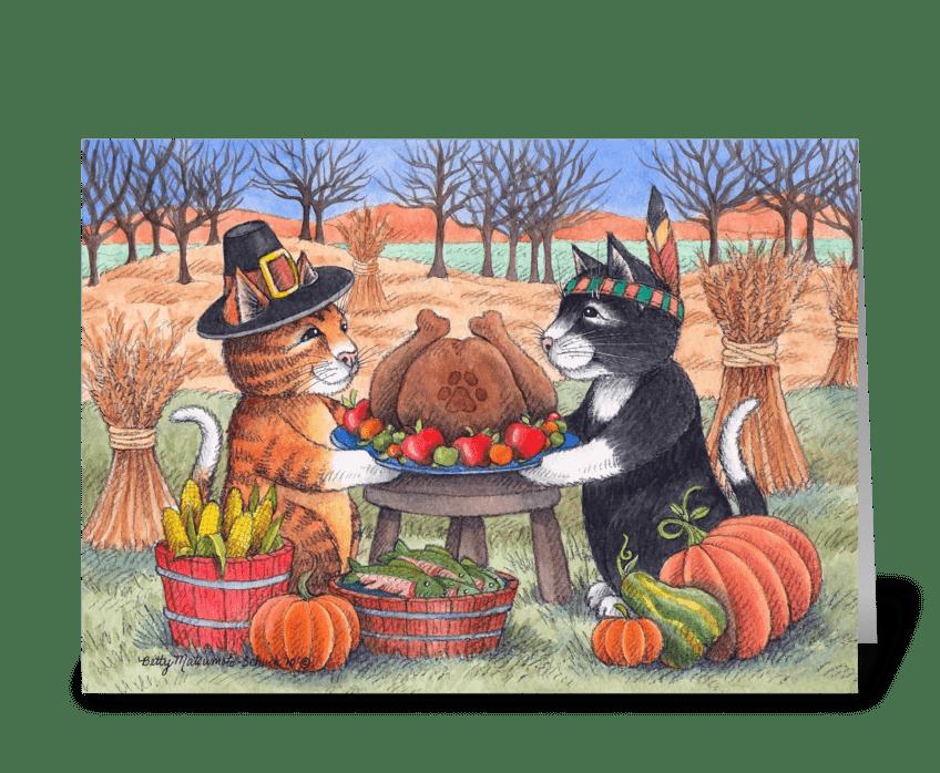 Happy Thanksgiving Pilgrim Cats #97 greeting card