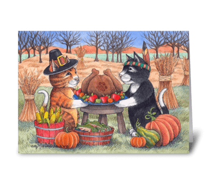 Happy Thanksgiving Pilgrim Cats #97 greeting card