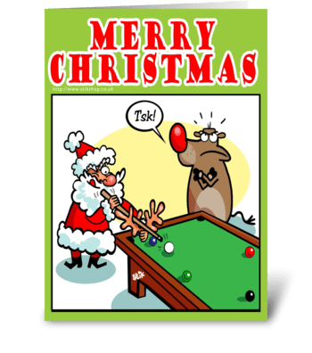 Santa Billiards greeting card