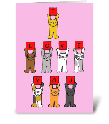 I love you Valentine Cats greeting card