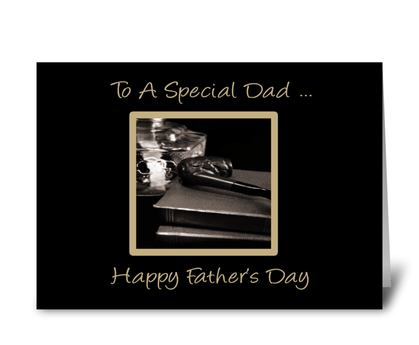 Pipe, Books, Father's Day greeting card