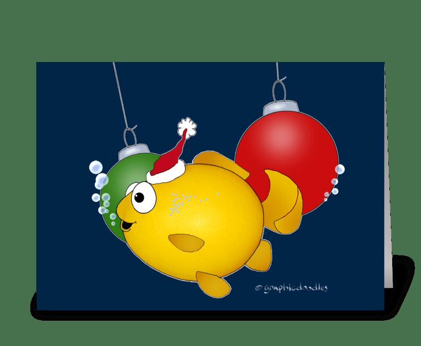 Merry Christmas Cartoon Fish greeting card