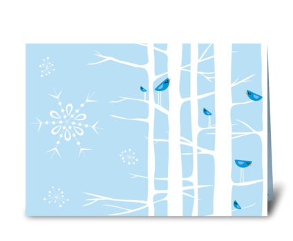 Winter Wonderland Trees Blue greeting card
