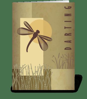 Darting Dragonfly - Happy Birthday greeting card