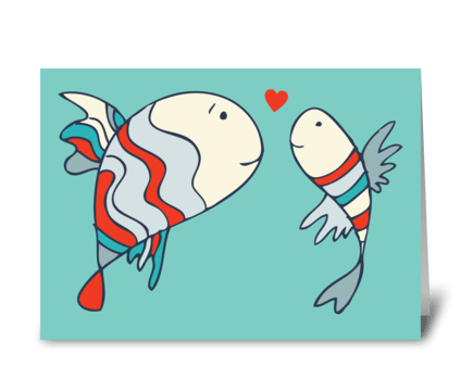 Two Little Love Fish greeting card