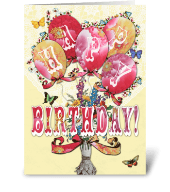 Candy Card BALLOONS Happy Birthday greeting card