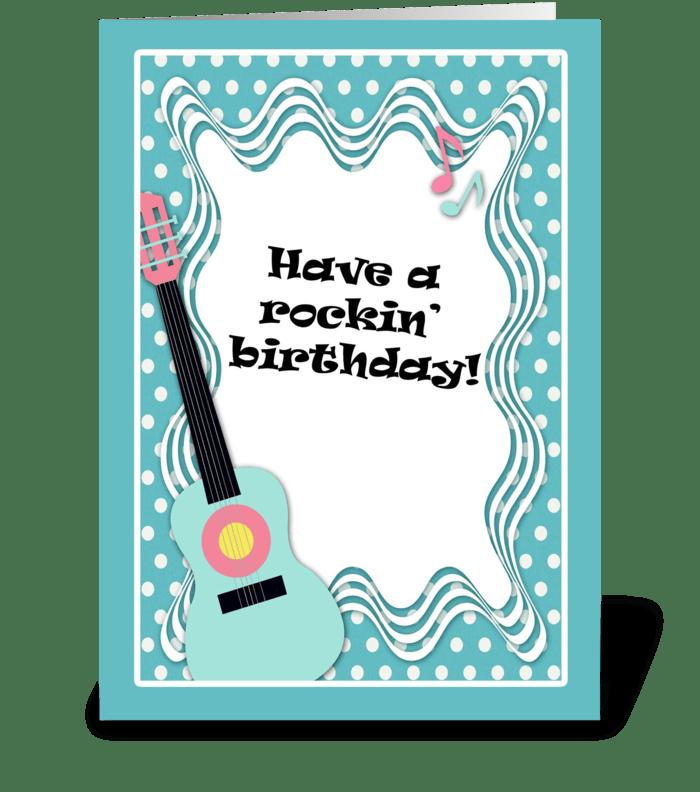 Blue guitar polka dot birthday card send this greeting card blue guitar polka dot birthday card greeting card m4hsunfo