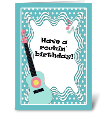 Blue Guitar, Polka Dot Birthday Card  greeting card