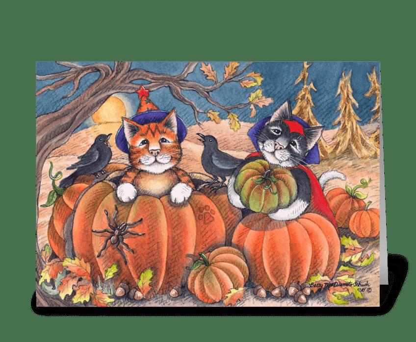 Happy Halloween Costume Cats #96 greeting card