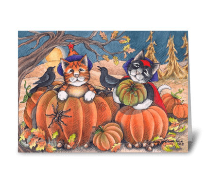 Happy Halloween Costume Cats #96 greeting card