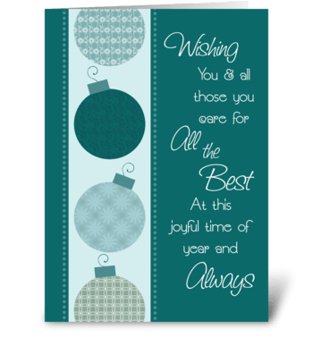 Merry Christmas Patterned Decorations greeting card