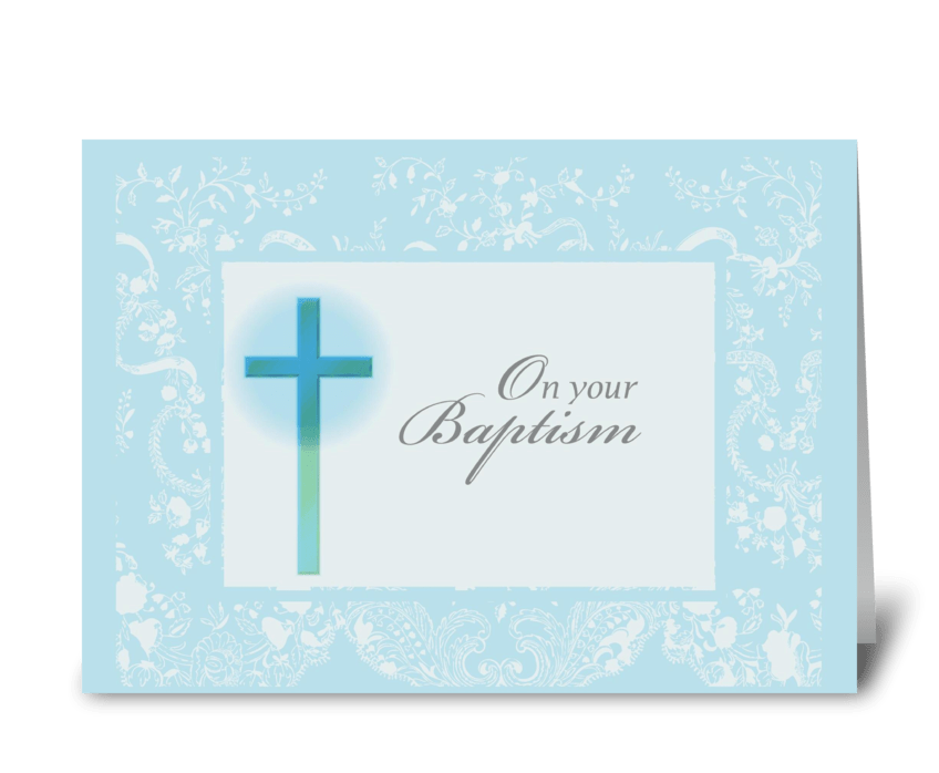 2789 Blue Christening Card, Lace greeting card