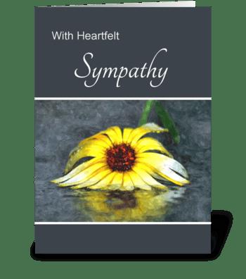 Heartfelt Sympathy Yellow Flower In Rain greeting card
