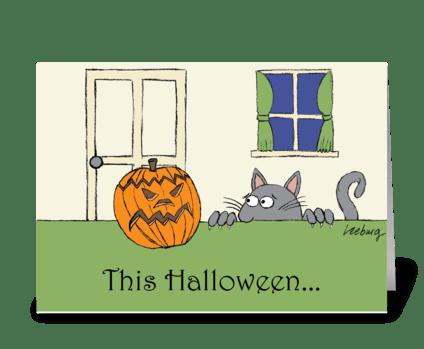 Scaredy Cat Halloween greeting card