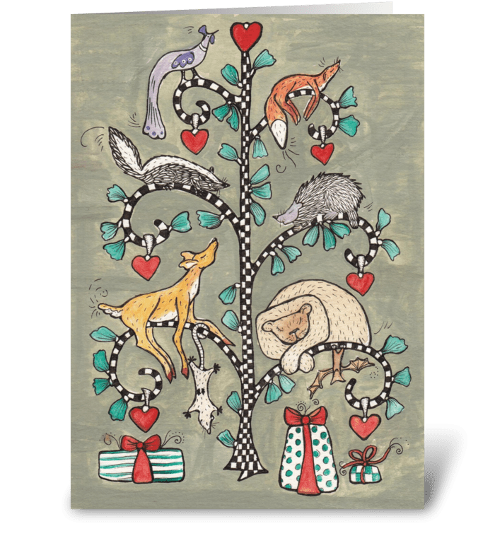 animal christmas tree greeting card