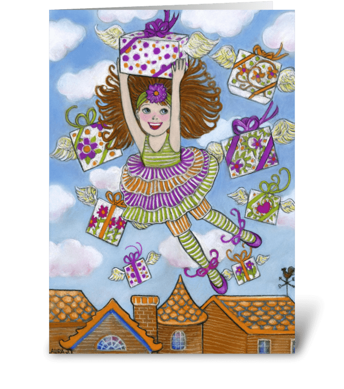 Little Girl with Presents Birthday Card greeting card