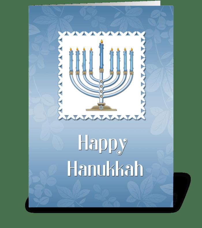 Happy hanukkah blue menorah send this greeting card designed by happy hanukkah blue menorah greeting card m4hsunfo