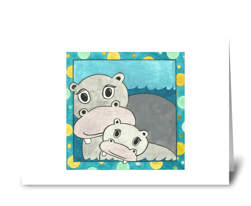 Holly's Hippos greeting card
