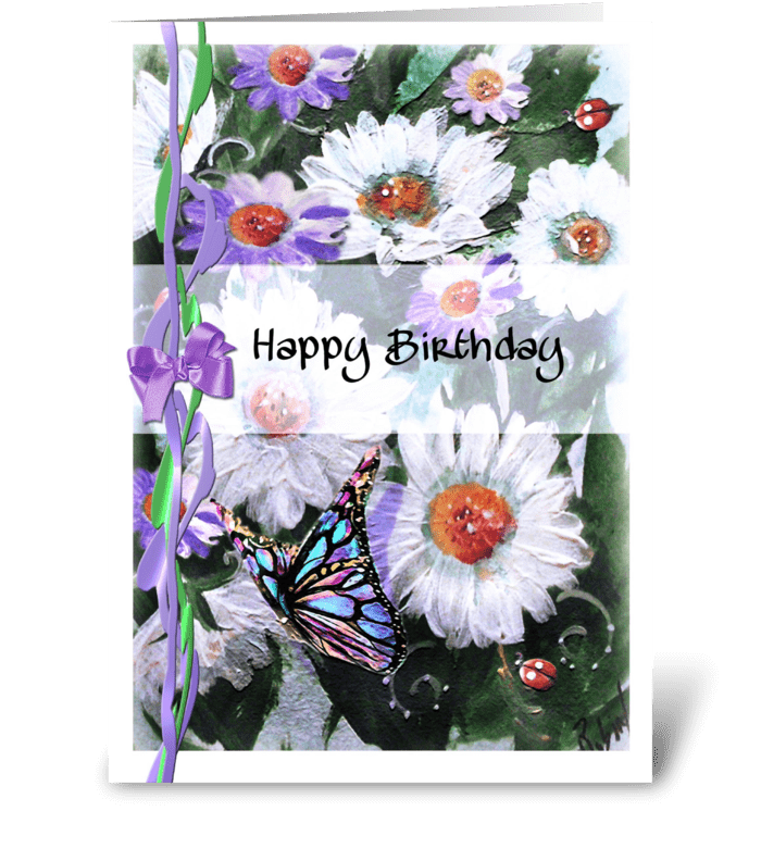 Daisies and Butterflies, Birthday ART greeting card