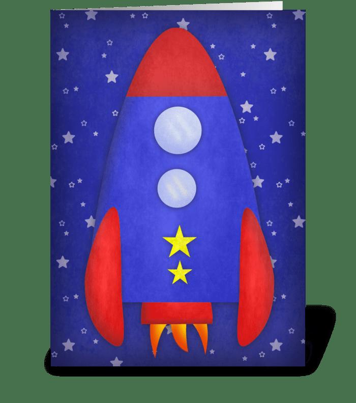 Cute Rocket Ship greeting card