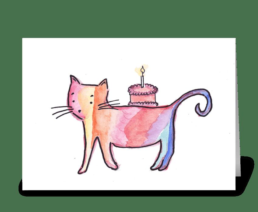 Birthday Cake Cat greeting card