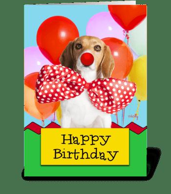 Birthday Beagle Balloons greeting card