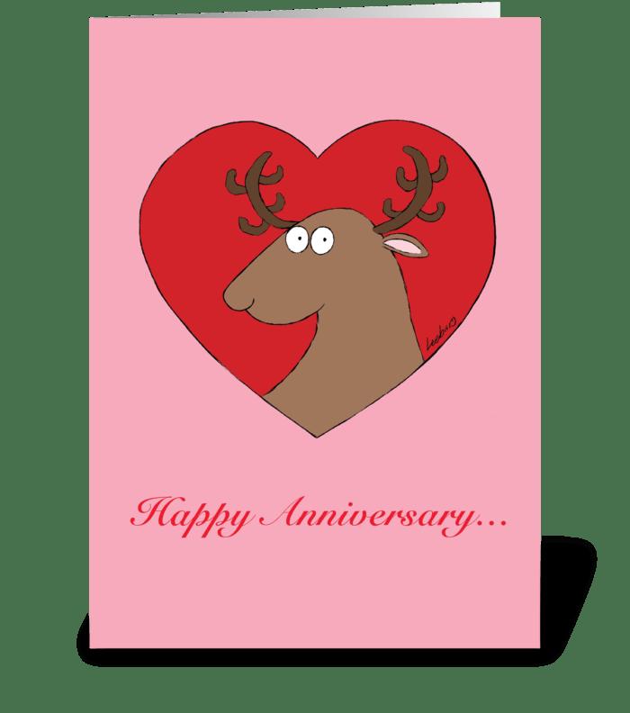 Reindeer Heart Anniversary greeting card