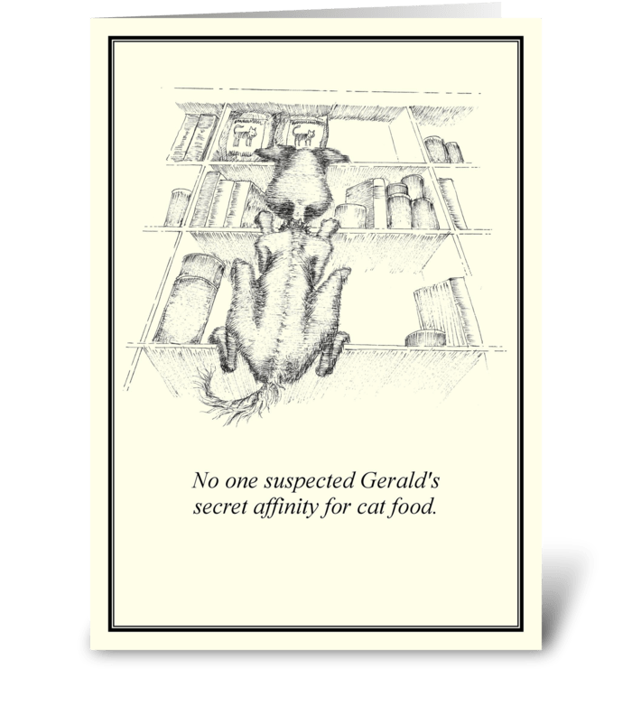 Affinity for cat food greeting card