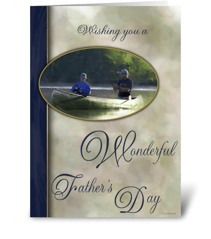 Father's Day Fishing with Son greeting card