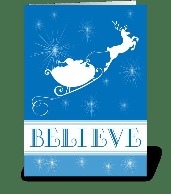 I Believe In Santa greeting card