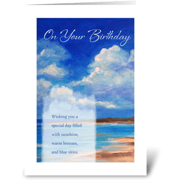 Birthday - Beach & Blue Skies greeting card
