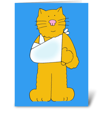 Cat Get Well Soon card, arm/shoulder. greeting card