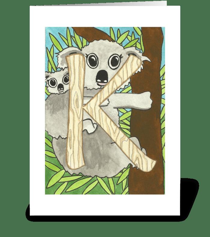 k for Koala greeting card