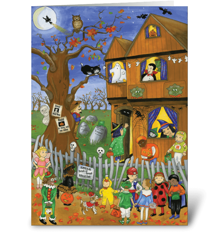 Halloween trick or treat send this greeting card designed by halloween trick or treat greeting card m4hsunfo