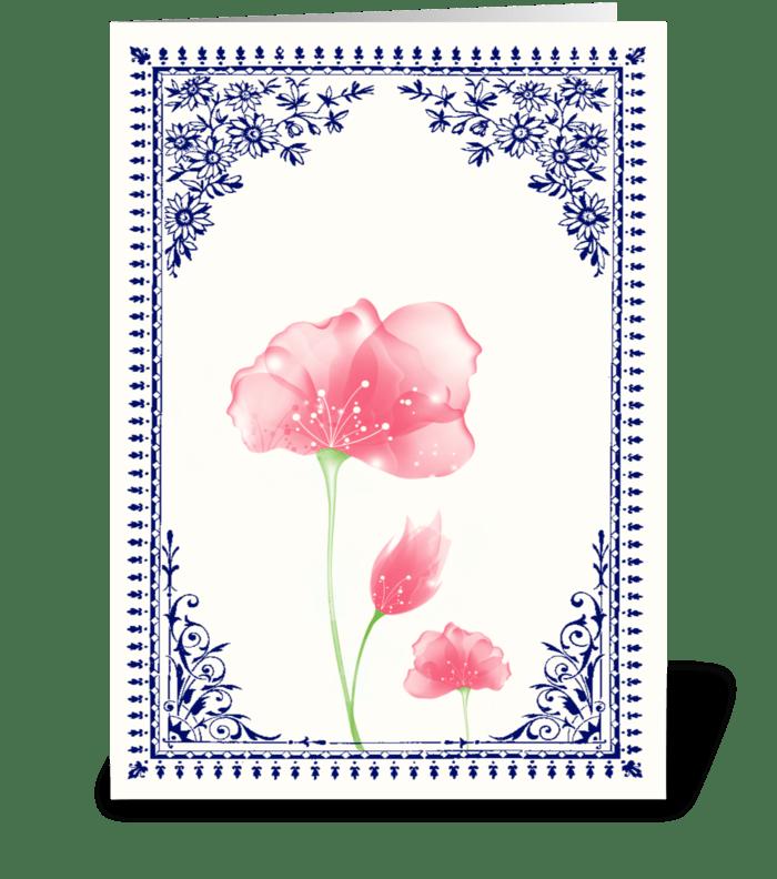 Vintage Pink Flower 3 with Blue Border greeting card
