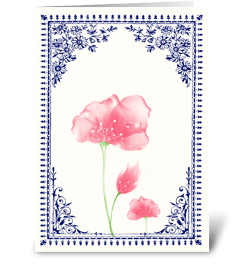 Vintage Pink Flower 3 with Blue Border greeting card