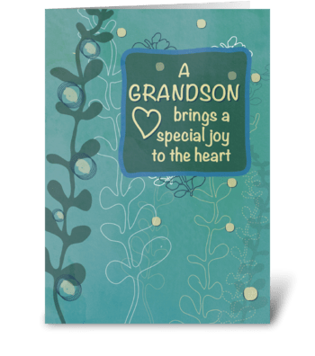 Grandson Religious Birthday, Green Hand  greeting card