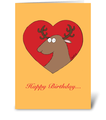 Reindeer Heart Birthday greeting card
