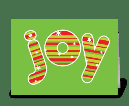 JOY at Christmas, Red & Green Stripes greeting card
