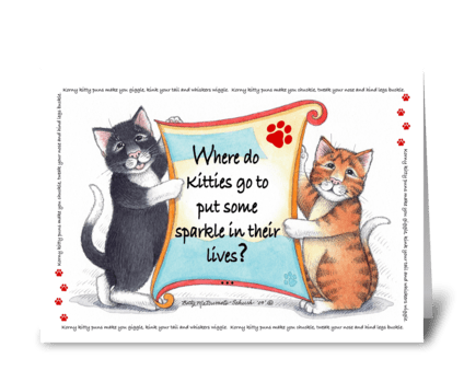 Kitty Puns Happy Birthday #63A greeting card
