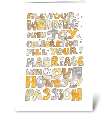Fill Your Wedding With Joy... greeting card
