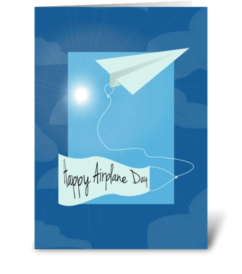 Paper Airplane - Happy Airplane Day greeting card