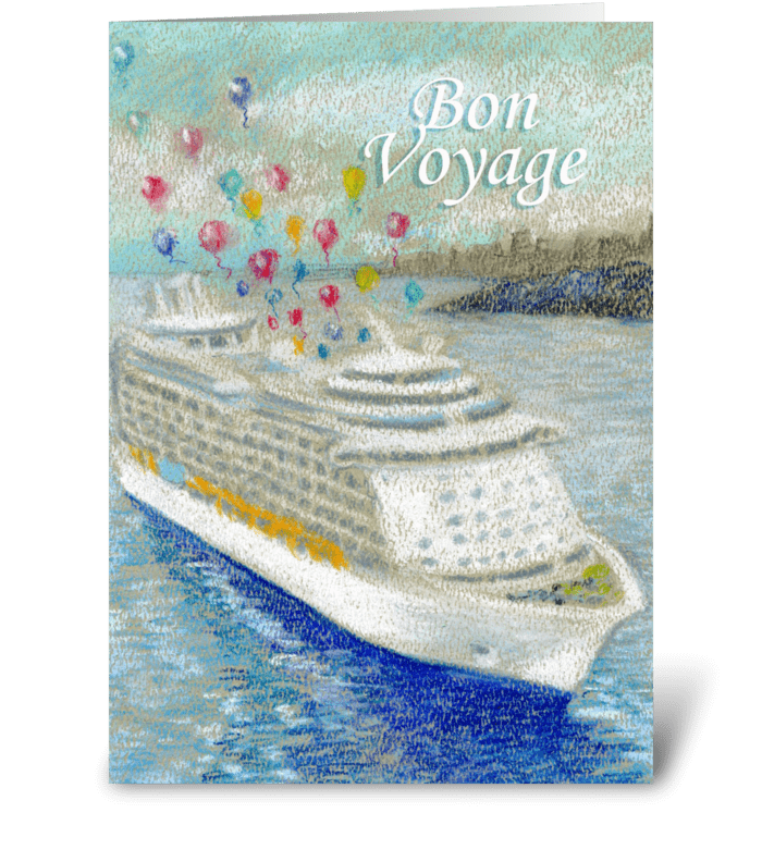 Bon Voyage Cruise Ship with Balloons greeting card