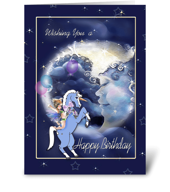Faery Rides a Unicorn, Big Moon Birthday greeting card