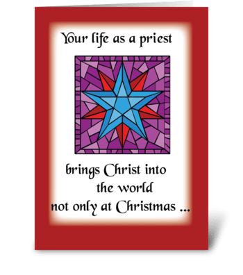 Priest Christmas Star Blue on Red Back greeting card