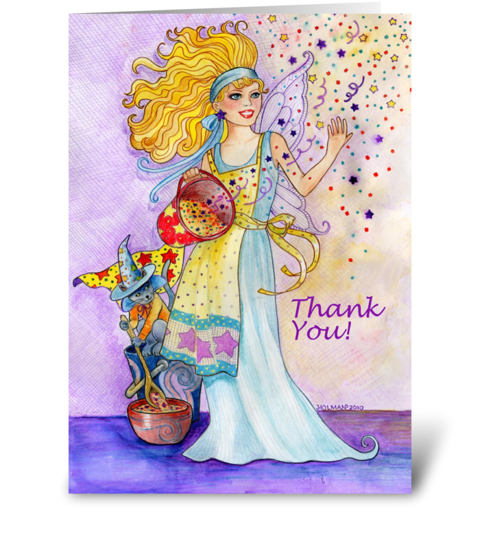 Glitter Fairy Thank You greeting card