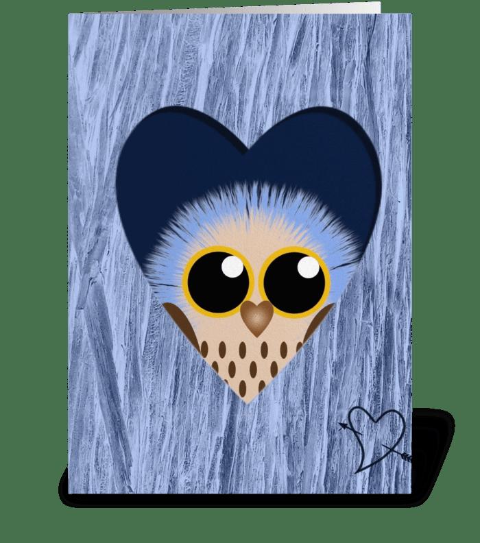 Blue Owl  greeting card