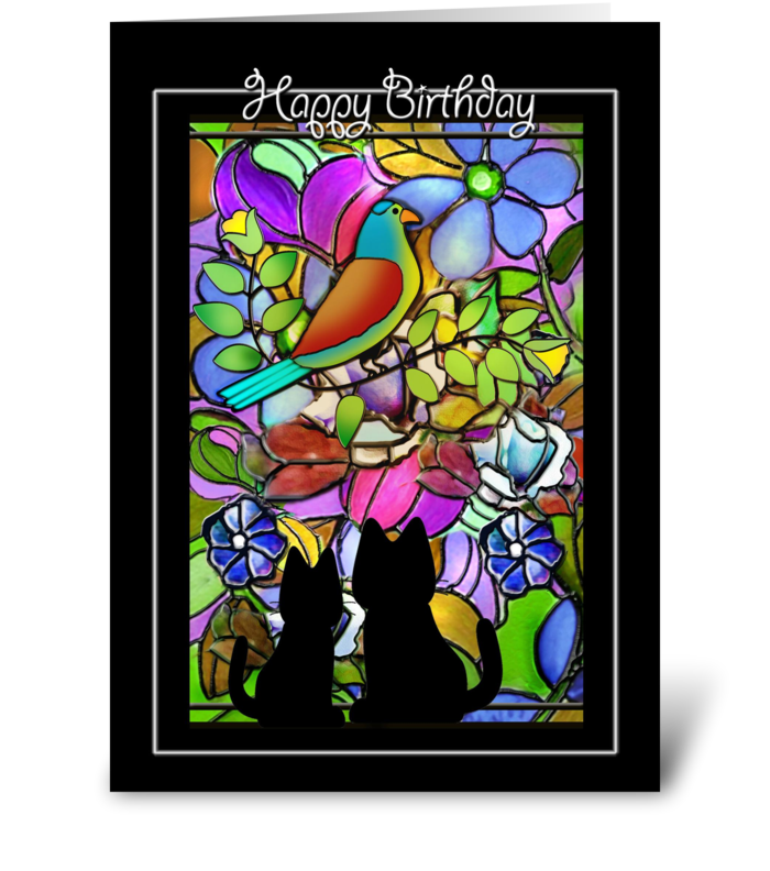 Kitties in the Window, Birthday Greeting greeting card