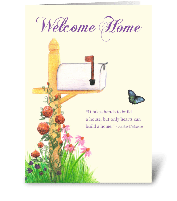 New home with mailbox flowers send this greeting card designed new home with mailbox flowers greeting card m4hsunfo